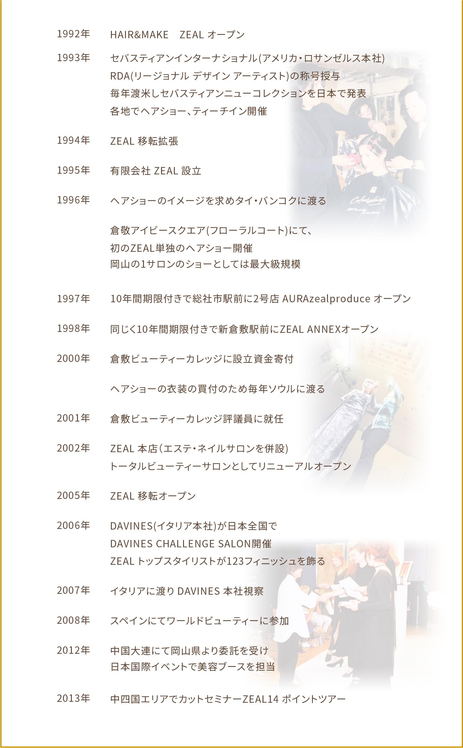 1992年 HAIR&MAKE ZEAL オープン 1993年 セバスティアンインターナショナル(アメリカ・ロサンゼルス本社) RDA(リージョナル デザイン アーティスト)の称号授与 毎年渡米しセバスティアンニューコレクションを日本で発表 各地でヘアショー、ティーチイン開催 1994年 ZEAL 移転拡張 1995年  有限会社 ZEAL 設立 1996年 ヘアショーのイメージを求めタイ・バンコクに渡る 1996年 倉敬アイビースクエア(フローラルコート)にて、初のZEAL単独のヘアショー開催 岡山の1サロンのショーとしては最大級規模 1997年 10年間期限付きで総社市駅前に2号店 AURAzealproduce オープン 1998年 同じく10年間期限付きで新倉敷駅前にZEAL ANNEXオープン 2000年 倉敷ビューティーカレッジに設立資金寄付 2000年 ヘアショーの衣装の買付のため毎年ソウルに渡る 2001年 倉敷ビューティーカレッジ評議員に就任 2002年 ZEAL 本店(エステ・ネイルサロンを併設) トータルビューティーサロンとしてリニューアルオープン 2005年 ZEAL 移転オープン 2006年 DAVINES(イタリア本社)が日本全国でDAVINES CHALLENGE SALON開催 ZEAL トップスタイリストが123フィニッシュを飾る 2007年 イタリアに渡り DAVINES 本社視察 2008年 スペインにてワールドビューティーに参加 2012年 中国大連にて岡山県より委託を受け日本国際イベントで美容ブースを担当 2013年 中四国エリアでカットセミナーZEAL14 ポイントツアー